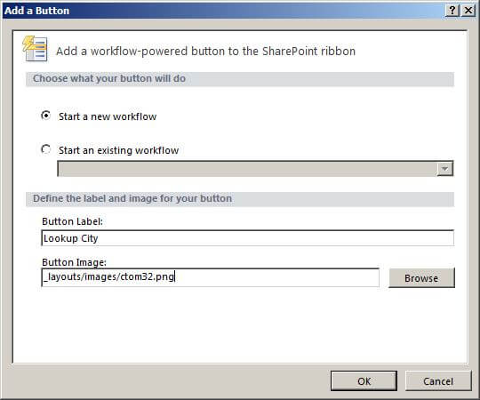 SharePoint Designer dialog for quick step button