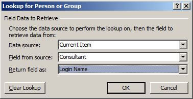 Selecting user profile record by consultant lookup