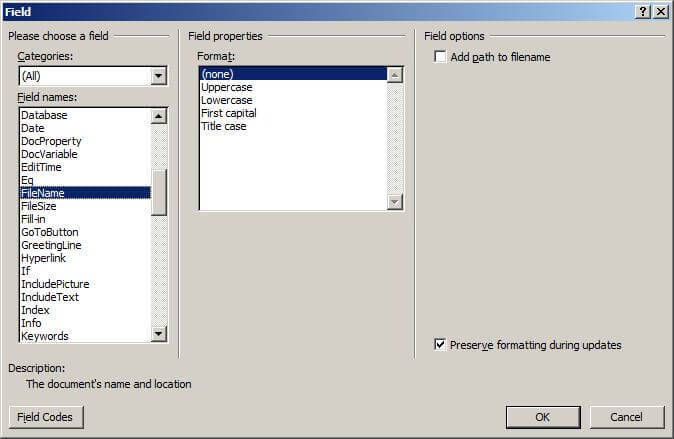 Insert FileName field dialog in Word