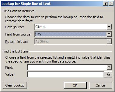 Lookup dialog with data source list and field selected