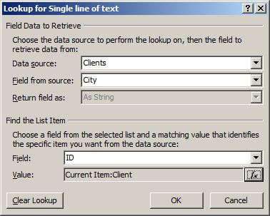 Completed lookup dialog for workflow