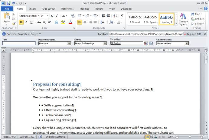 Word document showing document properties panel