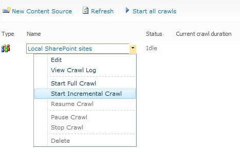 start incremental crawl