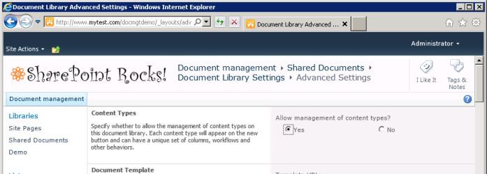 Setting to enable management of document types in library