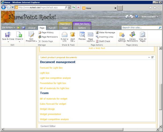 Content query web part showing documents from two sites