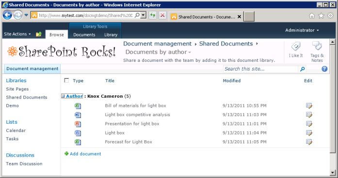 Custom view of document library