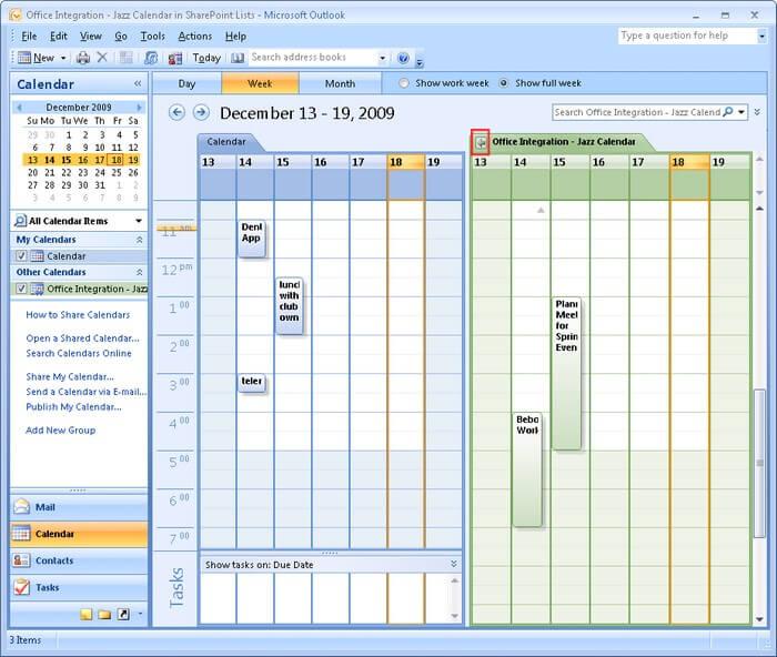 SharePoint calendar integration with Outlook