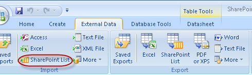Connecting to SharePoint (WSS3/MOSS2007) from MS Access 2007