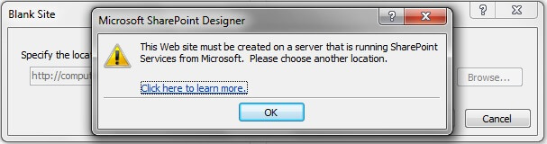 Error opening a non-SharePoint 2010 site