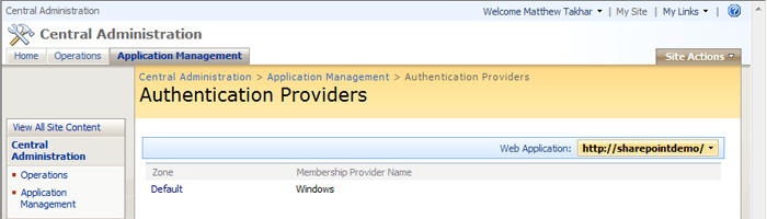 SharePoint Authentication Providers