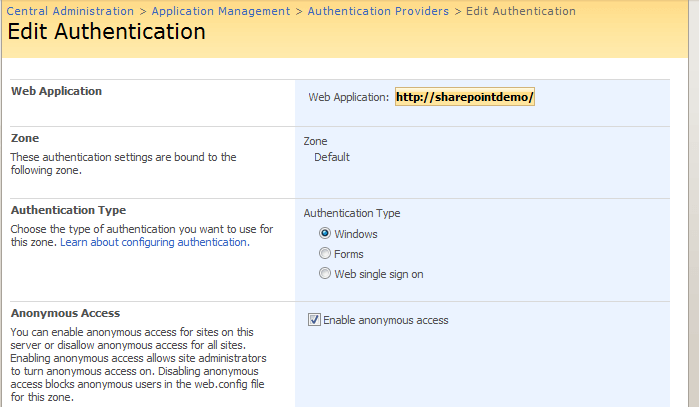 Enable SharePoint Anonymous Access