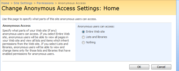 Select your anonymous access setting