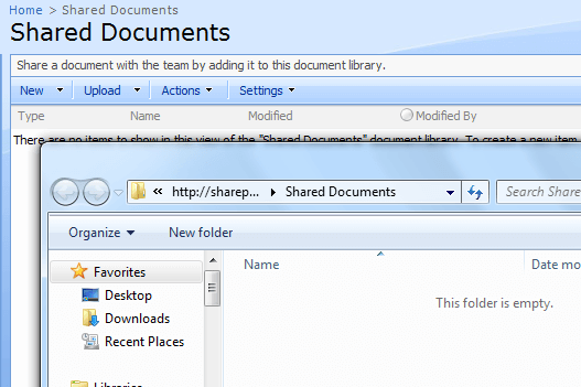 SharePoint - Windows Explorer Mode