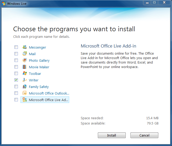 Live Writer Installer : Step 2