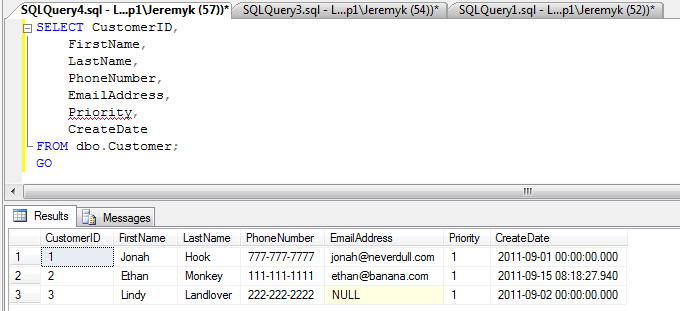 SQL Server SELECT statement to verify the INSERT statement
