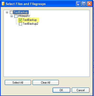 select file to backup