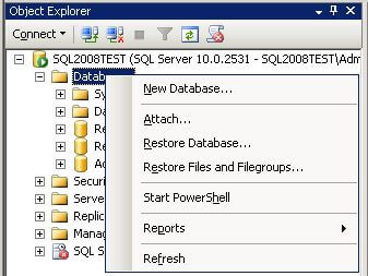 install sample database open sql server management studio navigate to the object explorer right click on databases then select attach from the menu as shown below