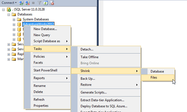 Shrink the log in SQL Server Management Studio