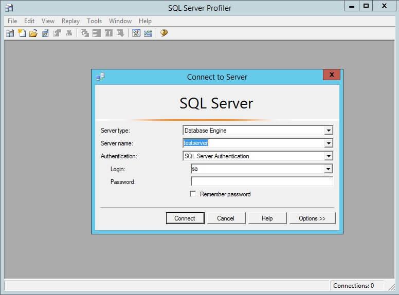 SQL Profiler Connect to Server