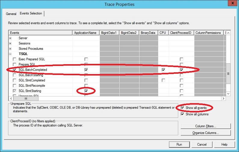 SQL Profiler - Event Selection Tab
