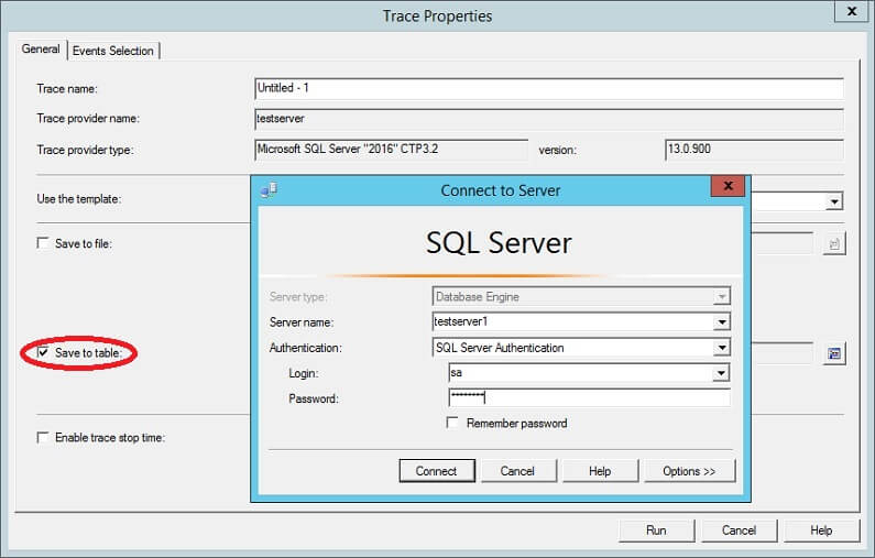 SQL Profiler - Save Trace Table - Connect