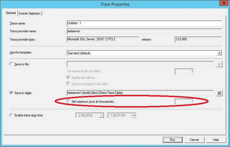 SQL Profiler - Save Trace Table - Completed