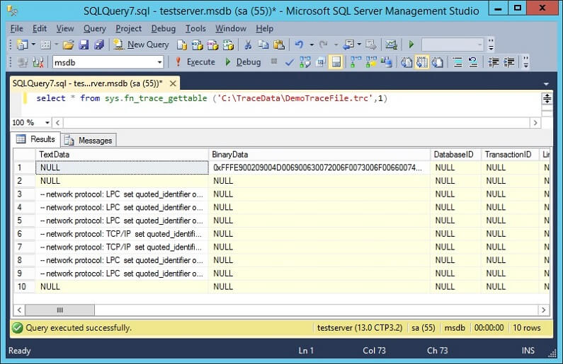SQL Profiler - Query Trace file