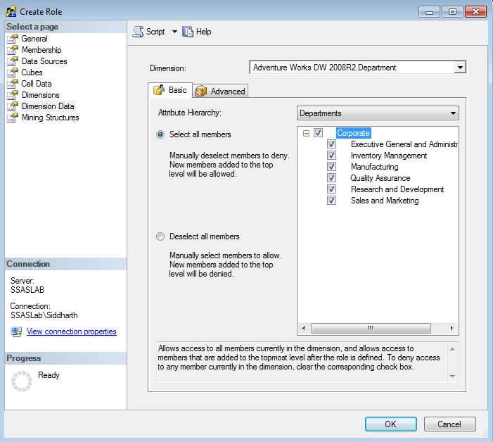 SQL Server Analysis Services Dimension Data Permissions
