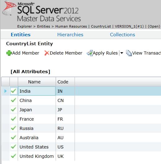 SQL Server Master Data Services data
