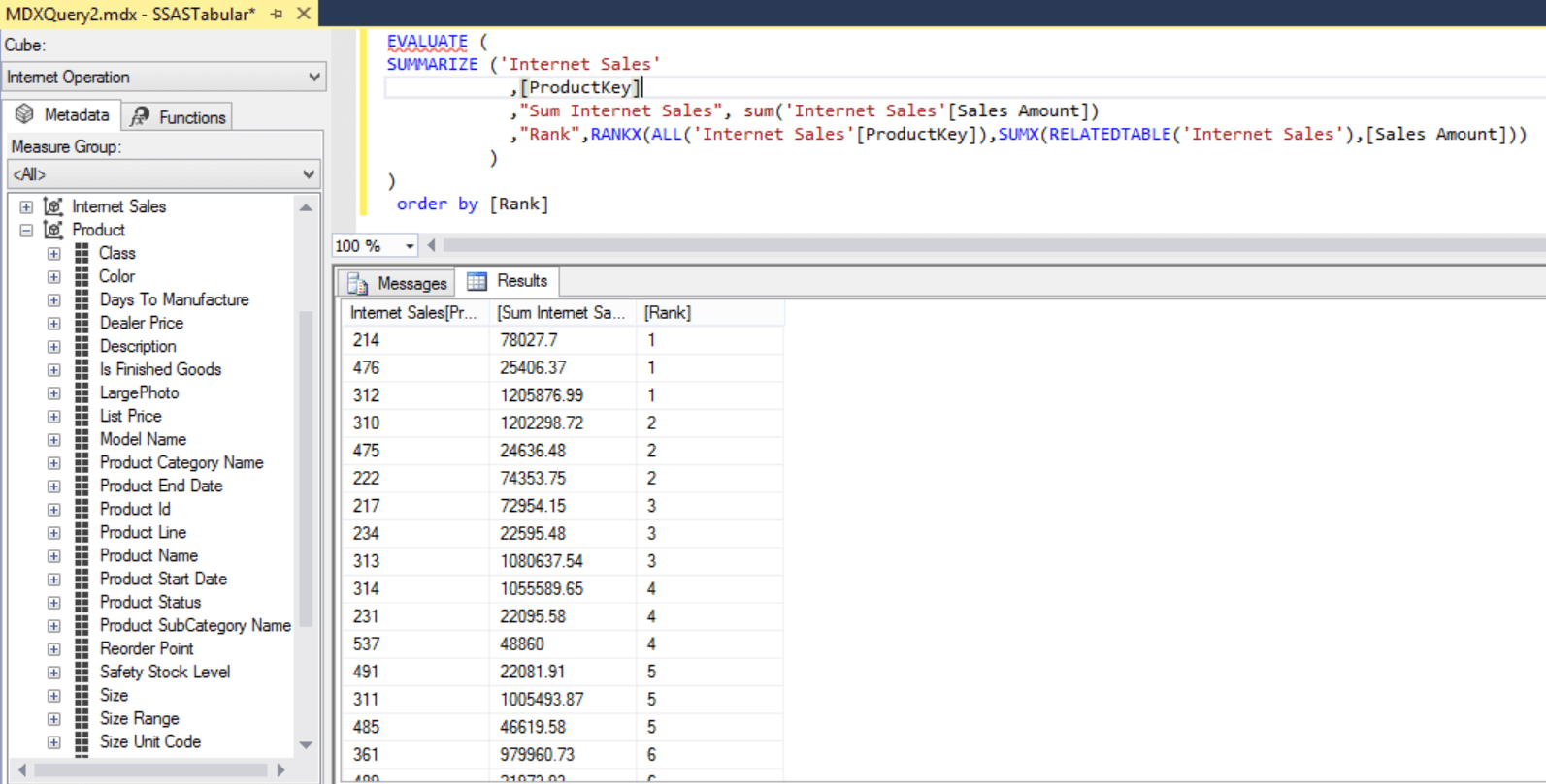 SQL Server DAX Sorting and Ranking Data