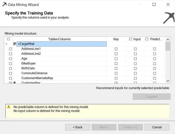 data mining wizard training data