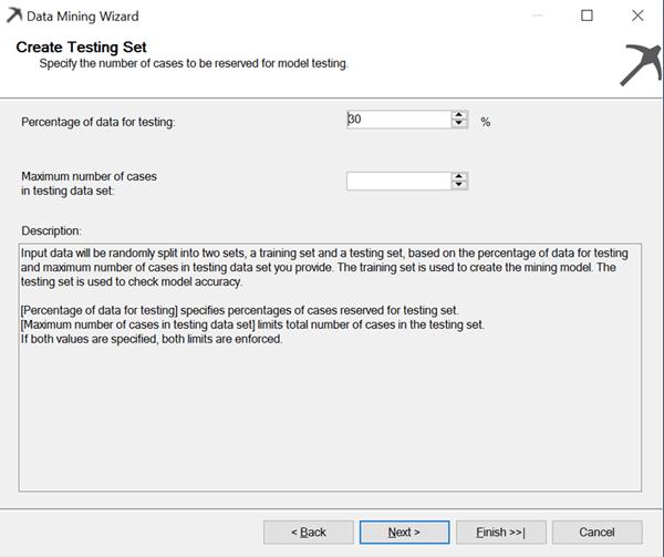 data mining wizard test set