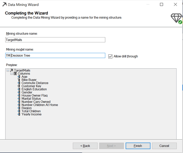 data mining wizard completion