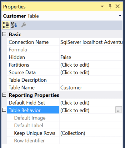 Table Properties in the SQL Server Data Tools
