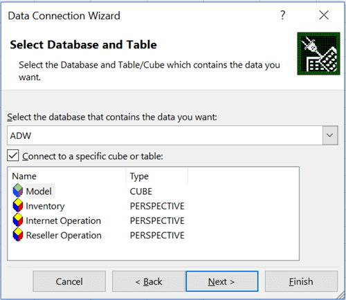 Select Database and Table in Power View