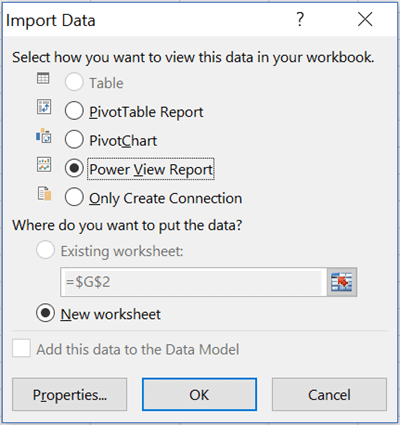 Import Data for a Power View Report