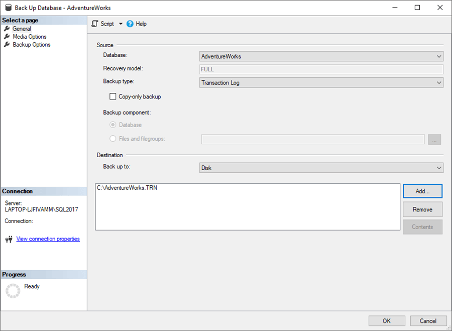 backup transaction log with ssms