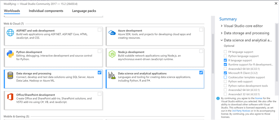Visual Studio 2017 Data Science Settings