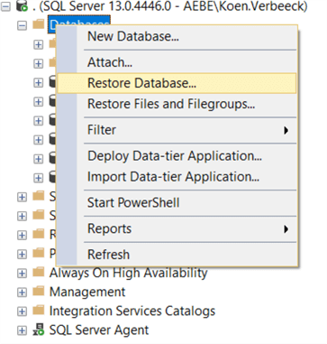 restore database context menu