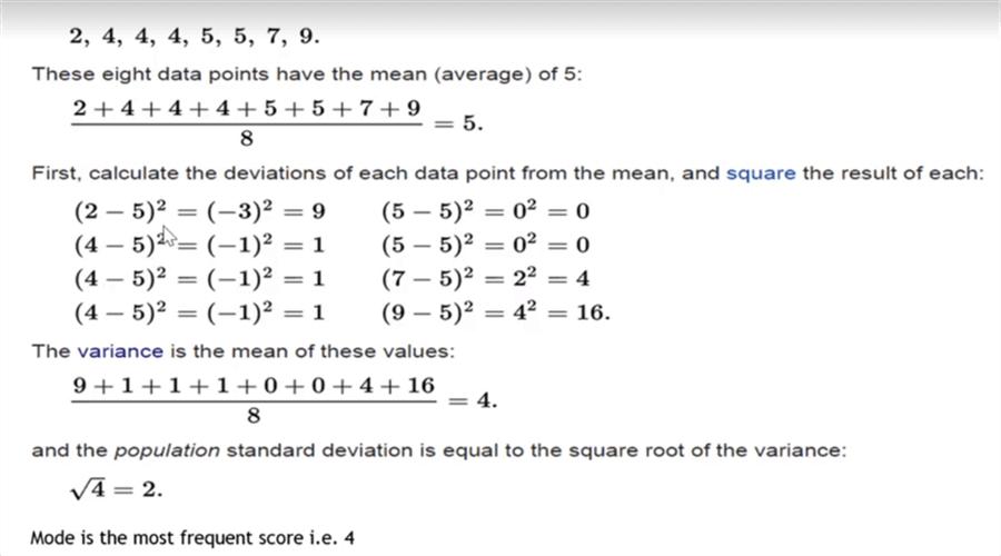 样本计算包括平均值,偏差,方差,总体和模式