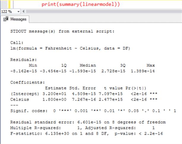 """要找出系数""""a""""和""""b"""",只需打印线性模型的摘要,您应该能够找到结果"""