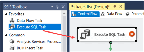 add execute sql task