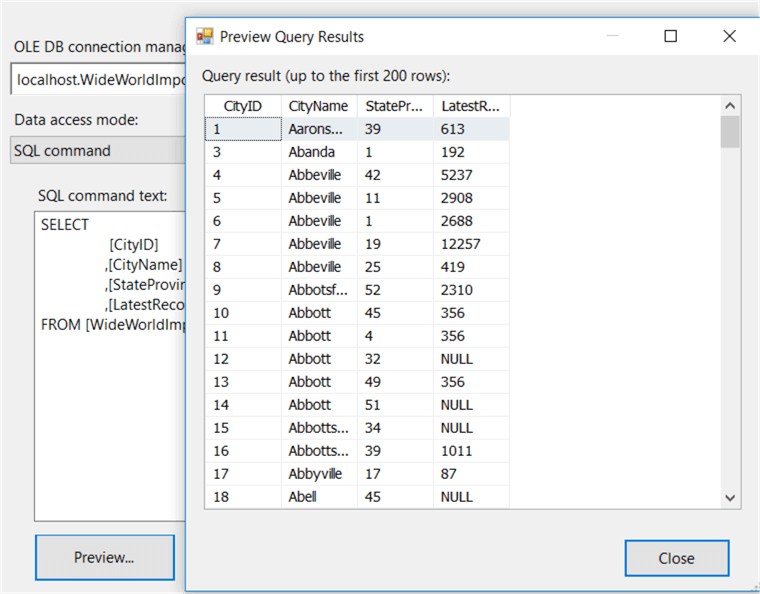 preview data from the OLE DB Connection Manager in SSIS