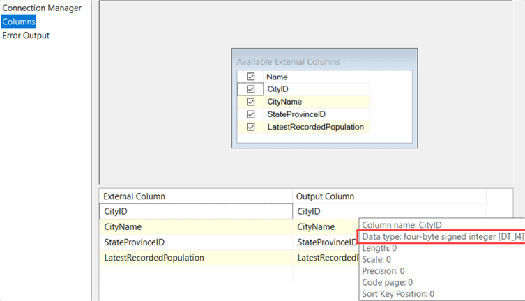column metadata options in SSIS