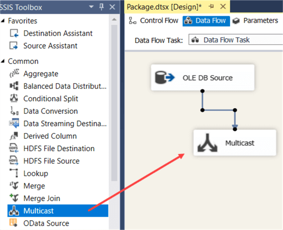 add multicast as dummy target in SSIS