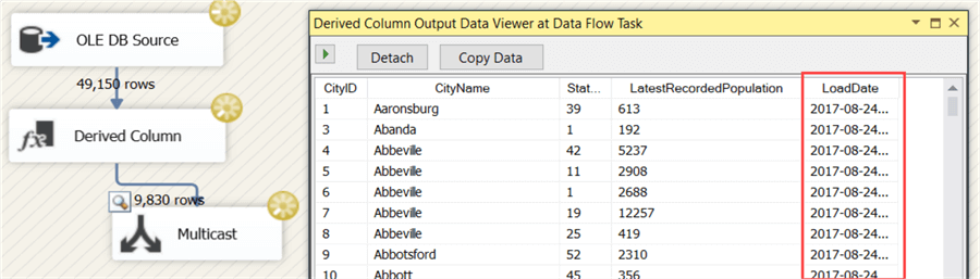Dervived Column Output data Viewer