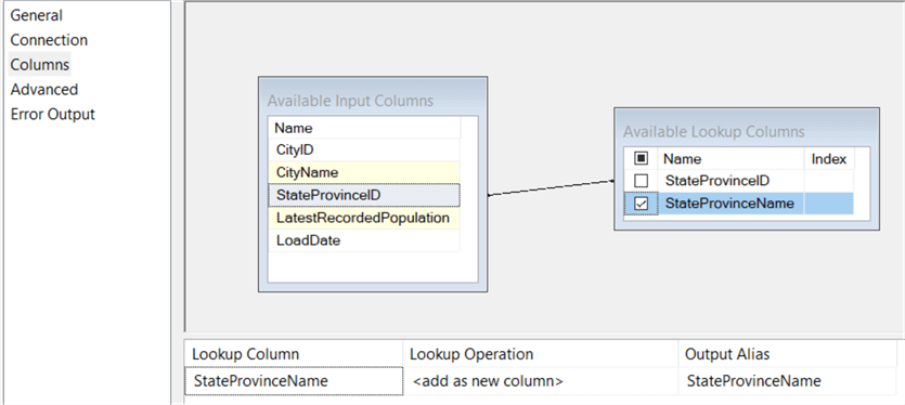 SSIS Lookup Component Columns Tab
