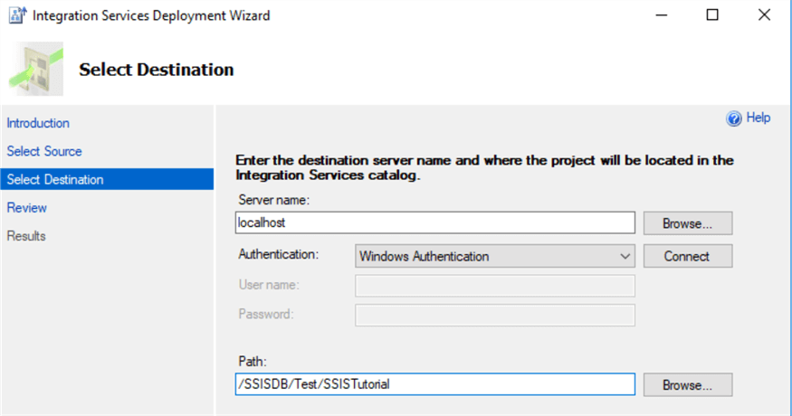 Select destination in Integration Services Deployment Wizard