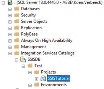SSIS project in catalog as seen in Management Studio
