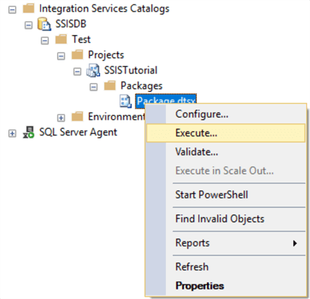 Execute package from SSMS
